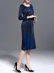 Polyester Casual Color-block Midi Dress