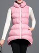 Pink Plain Zipper Sleeveless Coat With Pockets