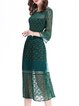 Guipure Lace Bell Sleeve Sexy Midi Dress