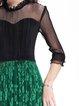 3/4 Sleeve Sexy See-through Look A-line Midi Dress