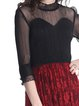 Black-red 3/4 Sleeve Stand Collar See-through Look Midi Dress