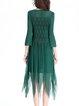Green Crew Neck Elegant A-line Midi Dress