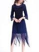 Royal Blue A-line Bell Sleeve Midi Dress