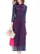 Blue Stand Collar 3/4 Sleeve Guipure Lace A-line Midi Dress