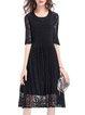 Black Crew Neck  A-line Elegant Midi Dress