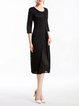 Buttoned 3/4 Sleeve A-line Polyester Elegant Midi Dress