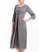 Gray Pleated 3/4 Sleeve Midi Dress