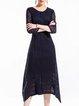 Elegant Buttoned 3/4 Sleeve Midi Dress