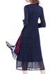 Dark Blue Printed Casual Polyester Midi Dress
