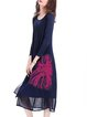 Dark Blue Printed Casual Polyester Midi Dress