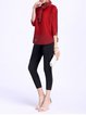 Red Casual Crew Neck Crinkled Blouse