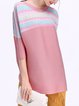 Pink Crinkled Polyester Crew Neck Casual Blouse