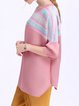 Pink Pleated Crew Neck Casual Tops
