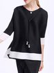 Black Polyester Crew Neck Crinkled Casual Blouse