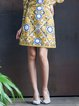 Yellow Floral Vintage Floral-embroidered Lace Midi Skirt
