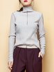 Gray Casual Ribbed Plain Long Sleeved Top