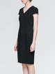 Black Slit Elegant V Neck Midi Dress
