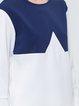Color-block Long Sleeve Simple Crew Neck Blouse