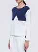 Color-block Long Sleeve Simple Crew Neck Blouse