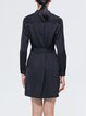 Navy Blue Casual Buttoned Solid Shirt Dress With Belt