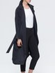 Solid Long Sleeve Lapel Pockets Trench Coat With Belt