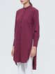 Long Sleeve High Low Buttoned Simple Stand Collar Tunic