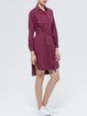 Fuchsia Plain Shirt Collar Long Sleeve Cotton Shirt Dress