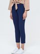 Royal Blue Simple Pockets Plain Straight Leg Pants
