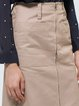 Khaki Cotton A-line Casual Zipper Midi Skirt
