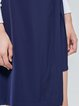 Dark Blue Simple Slit Solid Midi Skirt