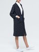 Dark Blue Casual Polka Dots Pockets Coat