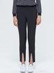 Black Simple Zipper Plain Polyester Skinny Leg Pants