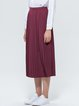 Wine Red A-line Pleated Casual Midi Skirt