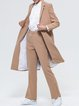 Camel Polyester Slit Simple Lapel Coat