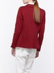Burgundy Plain Folds Long Sleeve Blazer