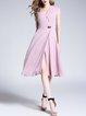 Pink Sleeveless V Neck Solid A-line Chiffon Midi Dress