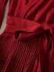 Casual Long Sleeve A-line Pleated Surplice Neck Sweater Dress