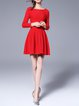 Red Bateau/boat Neck Casual Gathered A-line Mini Dress