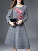 Crew Neck A-line Long Sleeve Vintage Floral Embroidered Midi Dress