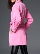 Pink Solid H-line Long Sleeve Symmetric Trench Coat
