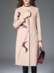 Apricot Cotton-blend Long Sleeve Printed Coat