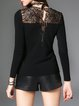 Knitted Paneled Sheath Casual Long Sleeved Top