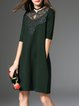 Half Sleeve Lace Elegant Crocheted Shift Midi Dress