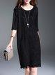 Black Solid Faux Suede Slit Fringed H-line Elegant Midi Dress