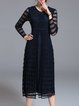 Plain Ribbed Vintage A-line Long Sleeve Midi Dress