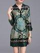 H-line Vintage Printed 3/4 Sleeve Mini Dress