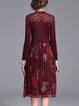 Pleated A-line Vintage Long Sleeve Midi Dress