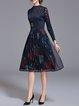 Dark Blue Vintage Stand Collar Midi Dress