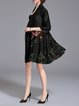 Black Floral-embroidered Stand Collar Floral 3/4 Sleeve Coat