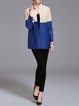 A-line Color-block Casual Long Sleeve Coat